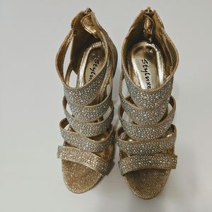 Styluxe Shoes - Styluxe Gold Stiletto Heels with Rhinestones sz.8